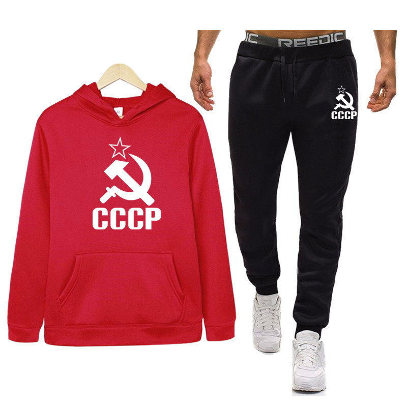 New CCCP Russian USSR Soviet Union Tracksuits Men Set Thicken Hoodies + Pants Suit Sweatshirt Sportswear Set Male Sporting Suits