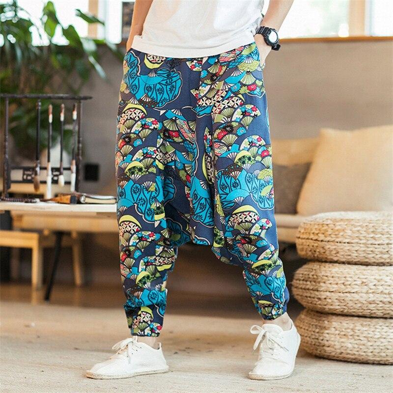 2019 Fashion Bohemia Style Print Men Baggy Cotton Harem Pants Hip Hop Men Pants Wide Leg Long Trousers Casual Vintage Cross Pant