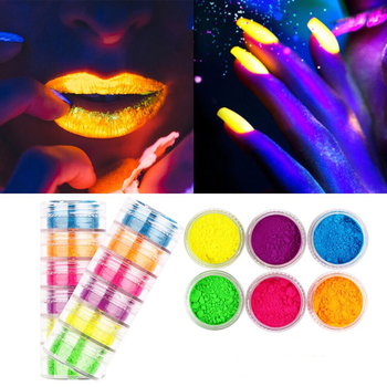 Pigment Nail Glitter Powder, Colorful Iridescent Glitter Ultrafine Luminous Pearlescent High-Gloss Halo Powder, Nails Pigments image