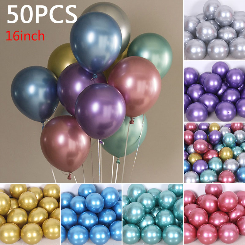 YOOAP 16 Inches 3.5g Balloons Latex Balloon Wedding Decoration 50pcs Metal Color Gitter Balloons Wedding Deco
