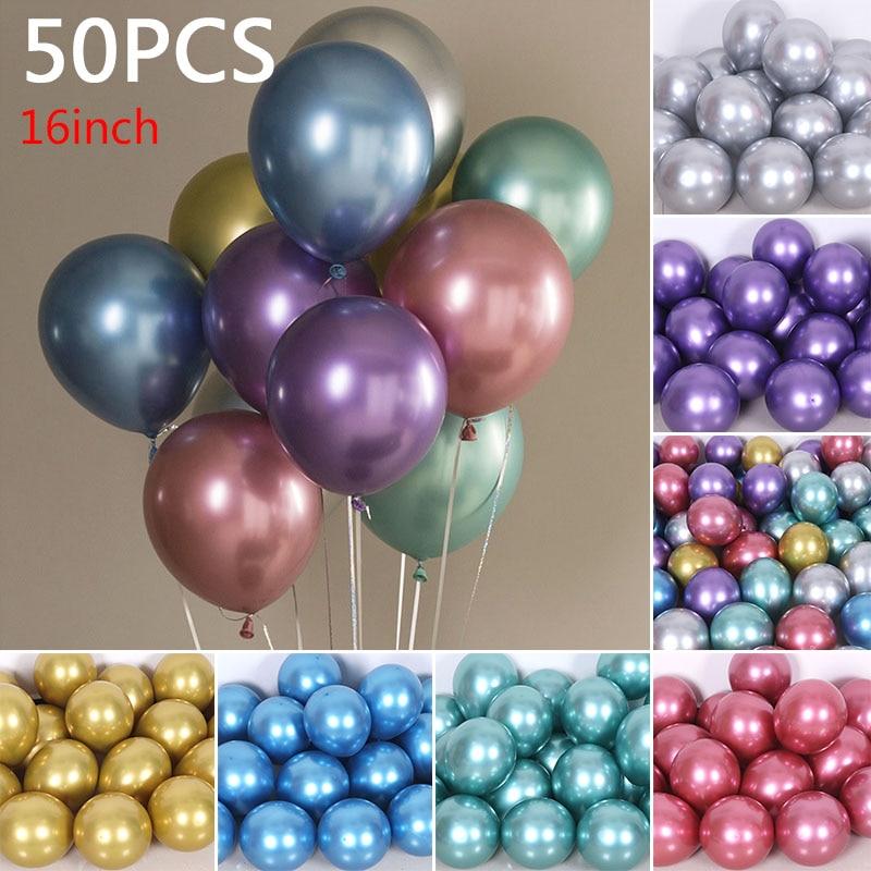 YOOAP 16 Inches 3.5g Balloons Latex Balloon Wedding Decoration 50pcs Metal Color Gitter Balloons Wedding Deco