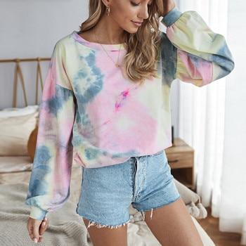 цена на худи толстовка женская hoodie Coat women's Fashion Cotton Tie-dye Print Long Sleeve O-Neck Casual Autumn Top Sweatshirt