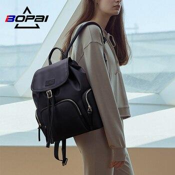 BOPAI Waterproof Women Backpack with Flap Cover Ladies Draw String Backpack Black Hasp Teenagers Daily Use Shoulder Back Packs