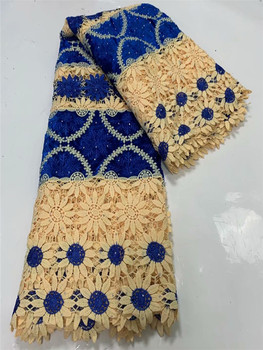 High Quality Nigerian Lace Fabrics with Stones royal blue African French Net Lace Fabric Embroidered Tulle Mesh Lace Fabric FW49