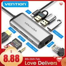 Vention usb c hub tipo-c para 4k hdmi rj45 vga usb 3.0 hub dock para macbook pro huawei companheiro 30 USB-C 3.1 divisor porto USB-C hub