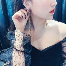 925 Silver Needle Zircon Tassel Earrings Female Korean Temperament Long European and Sexy