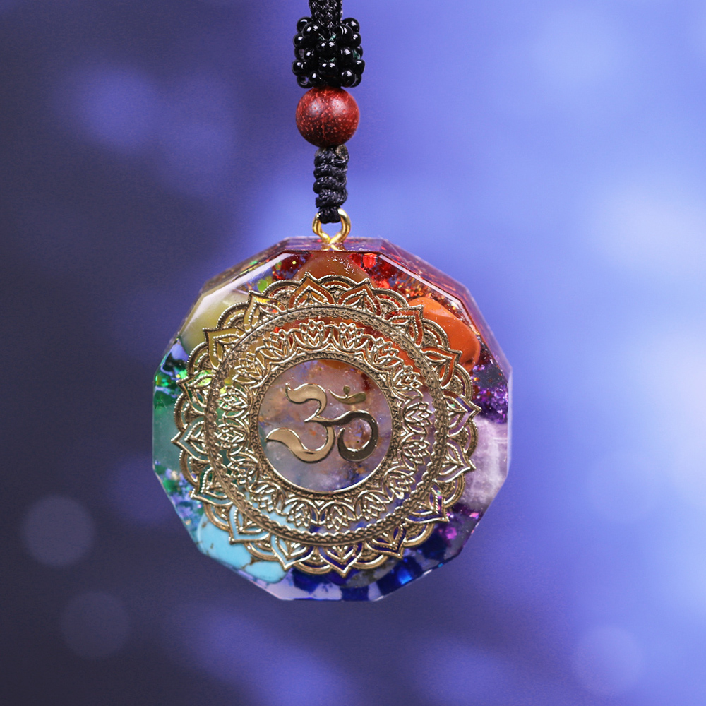 Ohm Rainbow Sterling Silver Spiritual Healing Reiki Natural Seven Gemstones Om Chakra Pendant Unique Aum Chakra Necklace Yoga Jewelry