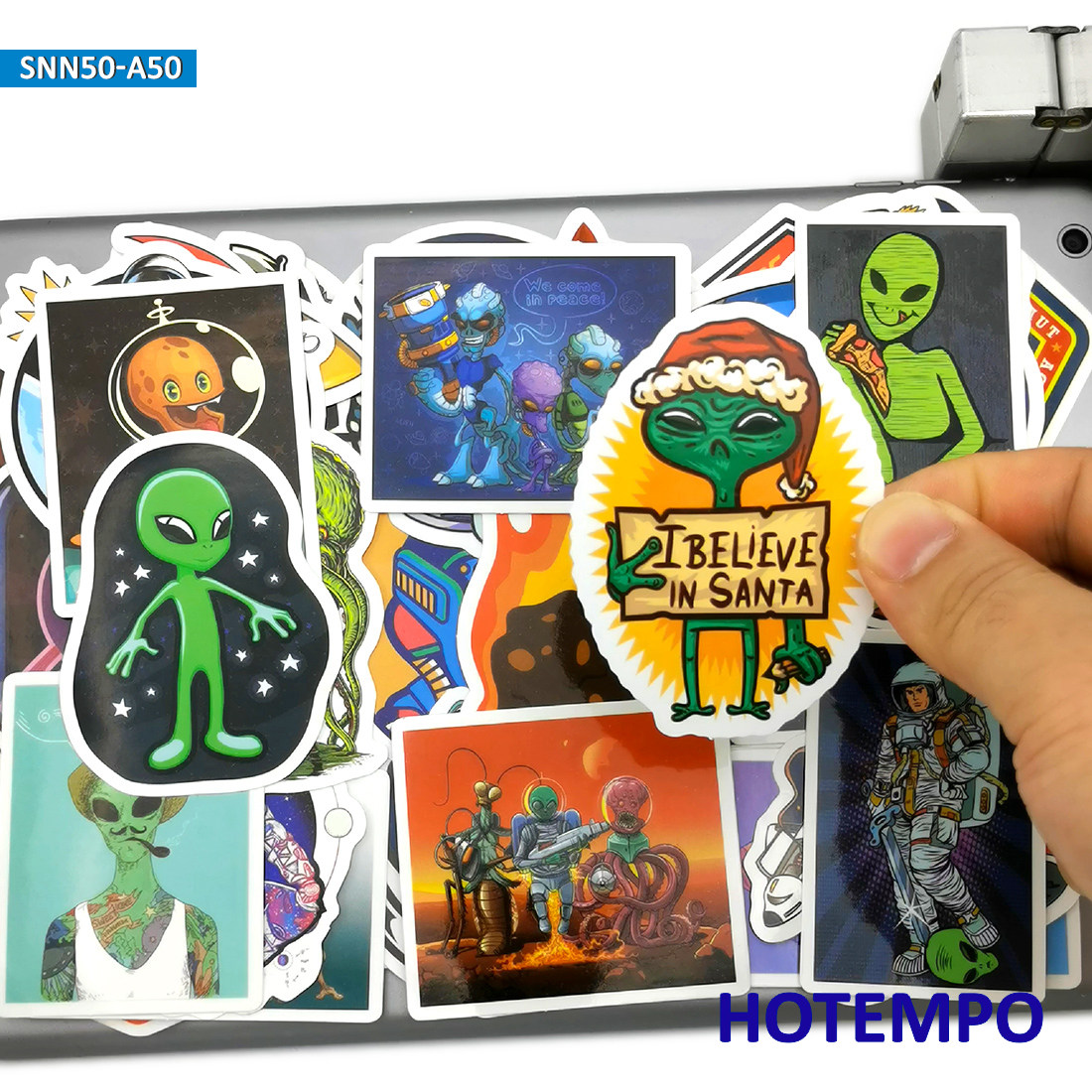 50pcs Astronaut Outer Space Alien <font><b>UFO</b></font> Rocket Fashion Style <font><b>Stickers</b></font> Toys for Mobile Phone Laptop Luggage Skateboard Car <font><b>Stickers</b></font> image