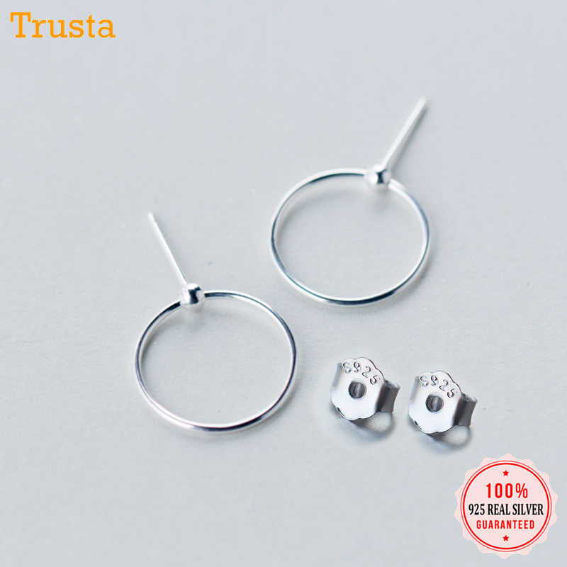 Trusta  100% 925 Sterling Silver Jewelry 2018 Women Fashion Round Style Stud Earrings Gift For Girls Teens Lady DS1308
