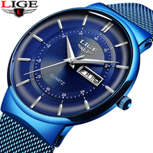 2019 yeni mavi kuvars saat LIGE Mens saatler üst marka lüks erkekler için basit tüm çelik su geçirmez kol saati Reloj hombre