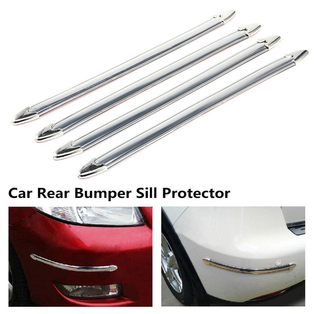 4PCS Silver Chrome Bumper Corner Side Edge Guard Protector Protective Rubber Trim Cover Strip