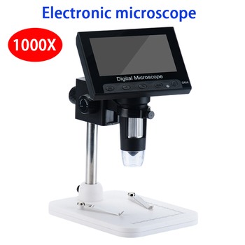 1000X elektronicznych mikroskop wideo 4 3 Cal wyświetlacz hd mikroskop cyfrowy naprawa telefonu lupa mikroskop usb tanie i dobre opinie JUNEFOR 500X-1500X Handheld PORTABLE Wysokiej Rozdzielczości USB Digital Electronic Microscope Ze stopu Aluminium ze stopu Aluminium