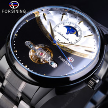 цены Forsining Black Men Mechanical Watch Tourbillon Moonphase Automatic Casual Business Stainless Steel Wrist Watches Relojes Hombre