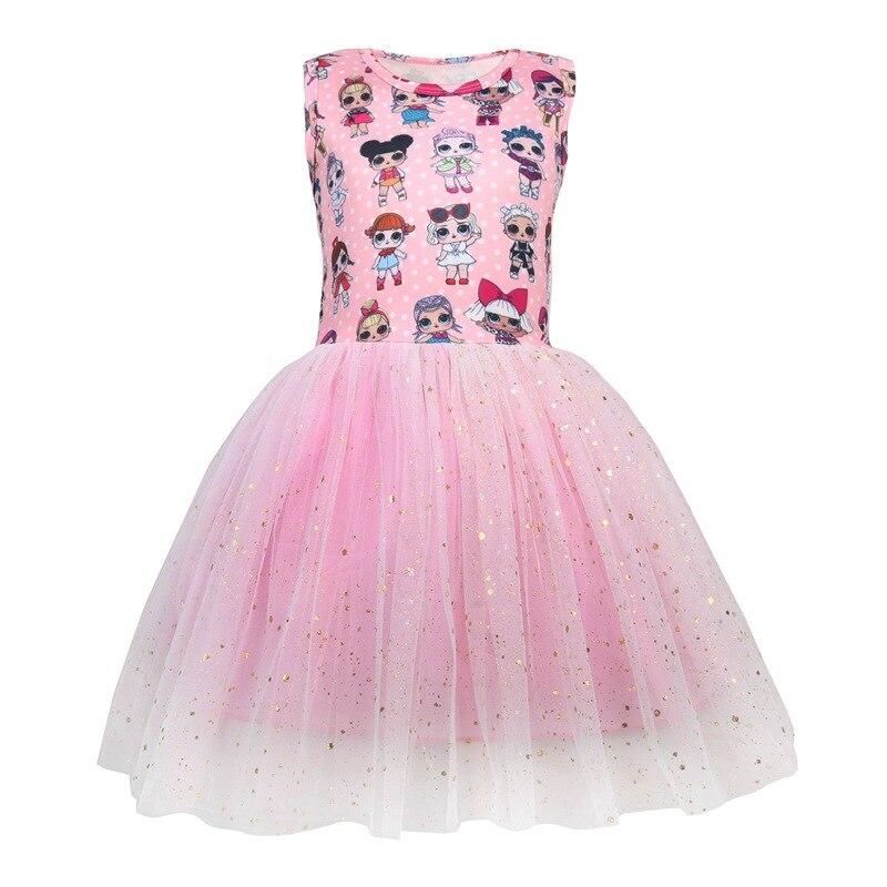 Girls LoL Suprise Original Princess Children's Sets Dress Elegant Kids Clothes Summer Sleeveless Lol Dolls Girls Dress Vestidos