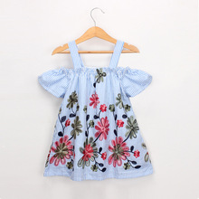 Girl Dress Summer New Fashion Off Shoulder Fly Sleeve Strap Dress Baby Kids Embroidery Stripe Clothes Children Casual Dress