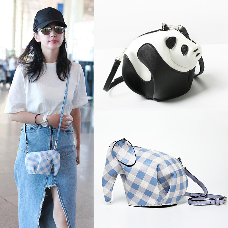 Genuine Leather Handmade Panda Shaped Crossbody Bag Cute Elephant Shaped Clutch Coin Purse Women Mini Shoulder Bag