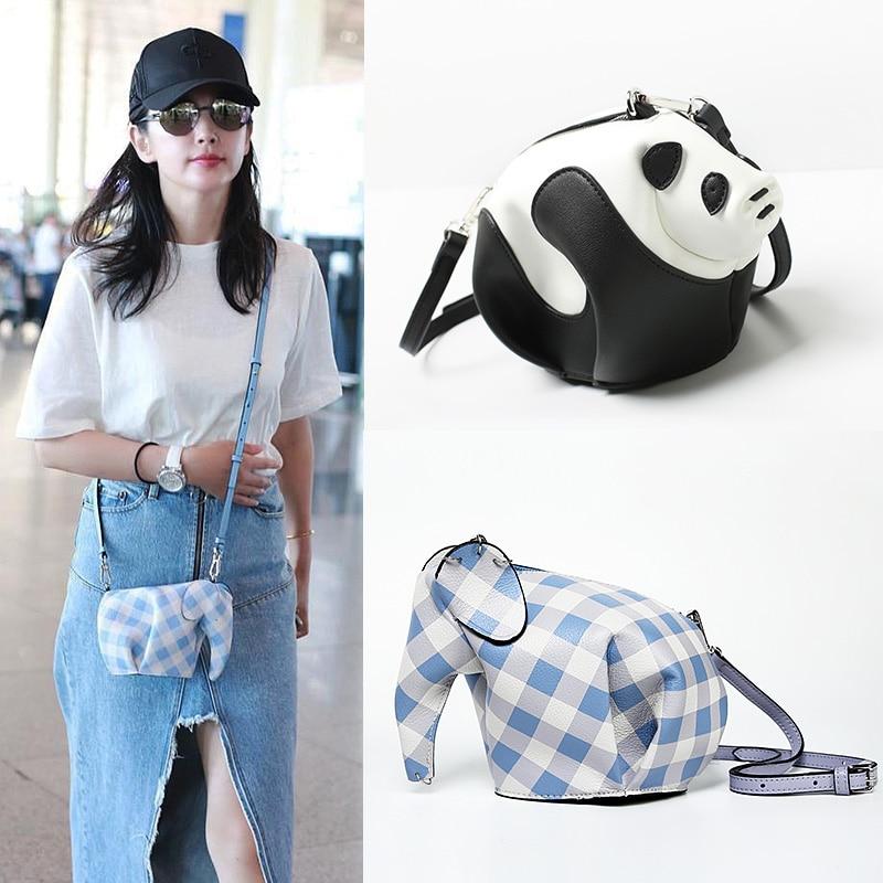 Genuine Leather Handmade Panda Shaped Crossbody Bag Cute Elephant Shaped Clutch Coin Purse Women Mini Shoulder Bag