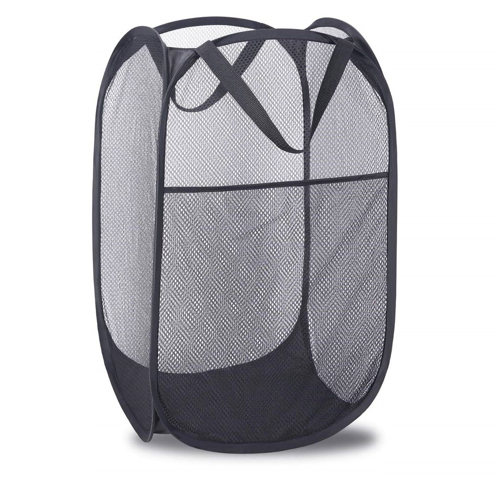 Mesh-Bag Laundry-Hamper Basket Foldable Strong Pop-Up with Handles Side-Pocket for Home title=