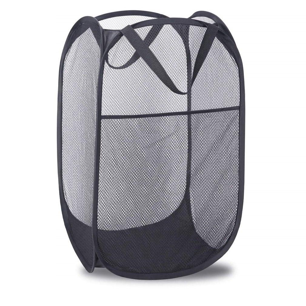 Pop-up Laundry Hamper Strong Mesh Bag With Portable Handles Side Pocket Foldable Laundry Net Basket For Home