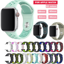 Seria 1/2/3/4/5 gumowa silikonowa opaska sportowa do paska Apple Watch opaska 38mm 42mm 40mm 44mm blet do bransoletki iwatch(China)