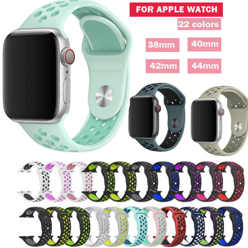 Series 1/2/3/4 Rubber Silicon Sport Strap For Apple Watch Band Series 5 Wristband 38mm 42mm 40mm 44mm Blet For Iwatch Bracelet