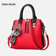 PU Leather Women Messenger Bag Fur Ball Crossbody Flap Bag Female  Shoulder Bag Solid Color Handbags цена