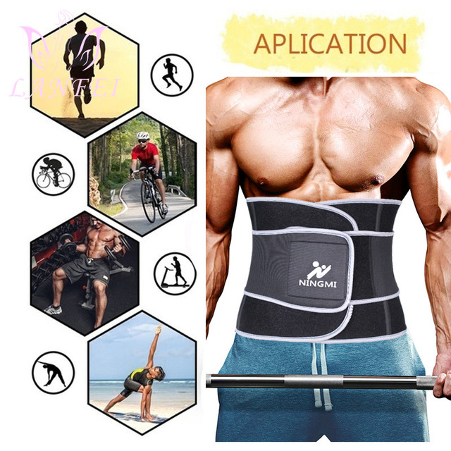 LANFEI slimming weight loss fat burner shit men sweat waist trainer trimmer belt hot neoprene body shapers tummy control corset 4