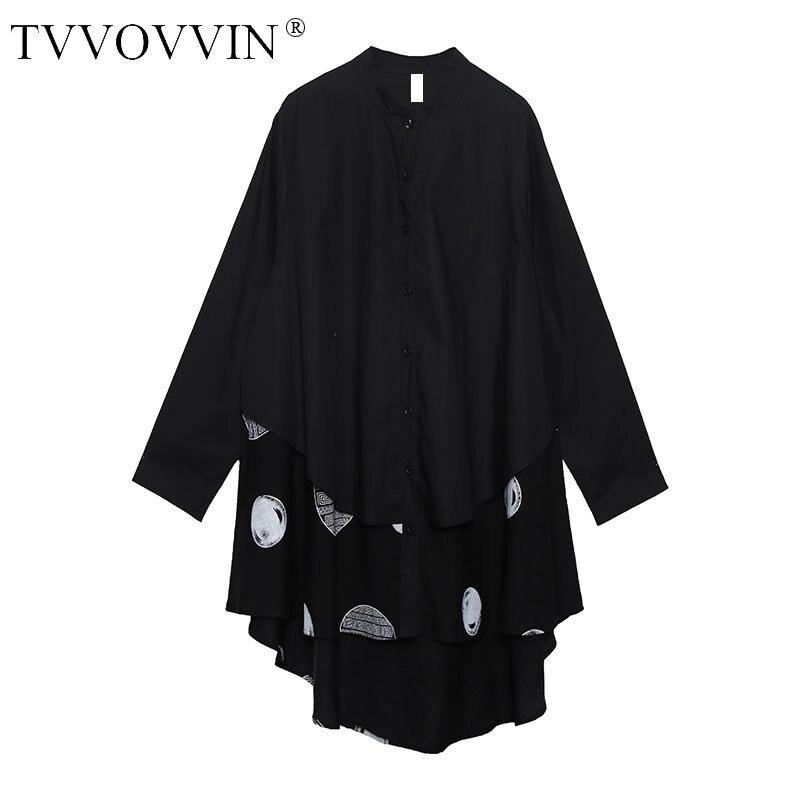TVVOVVIN irrégulière Patchwork point noir Blouse femmes vêtements 2019 mode col montant correspondre à toutes les chemise bouton automne nouveau D244