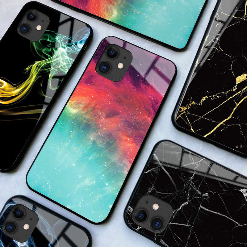 Designer Phone Case Cover For iPhone 11 Pro Max X XR XS 5 5s SE 6 6S 7 8 Plus Tempered Glass Silicone Nebula Marble Smoke Cases