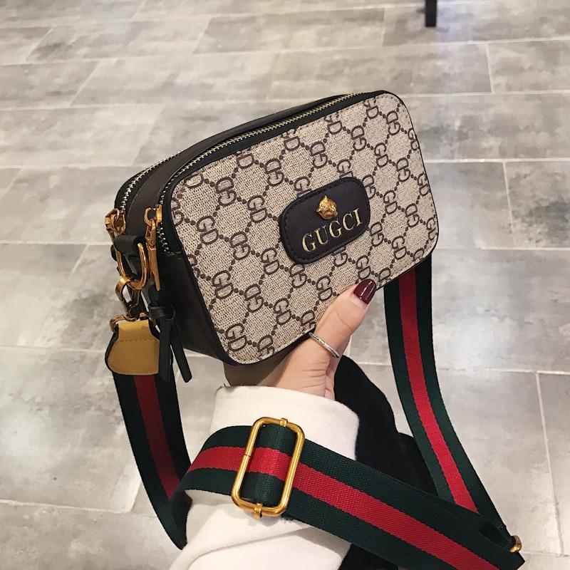 New fashion trend Messenger bag camera bag printing contrast color small square bag wild shoulder bag