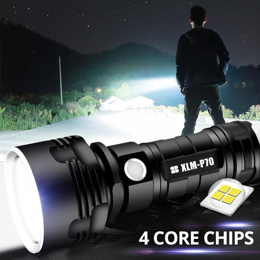 XLM-P70 Powerful LED Flashlight XHP50 Torch USB Rechargeable Waterproof Lamp Ultra Bright 3 Lighting mode Adjustable focus torch