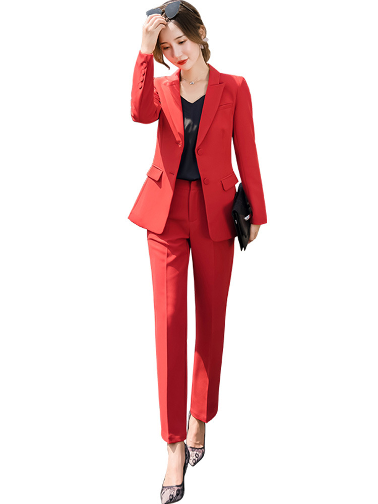 Red Black Female Elegant Women's Pants Suits Trouser Suit Dress Jacket Costumes Office Wear Clothing Two Piece Set Top And Pants