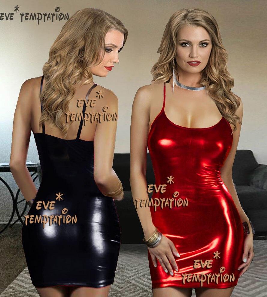 Sexy Glisten PVC FAUX LEATHER Underwear Babydoll Lingerie Strapless Leotard Pole Dance Seksi Adult  Nightclub Party  W073