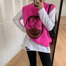 Gilet tricoté Sans Manches Pour Femmes, large Et Polyvalent, Col Rond, Visage Souriant, Couleur Vive, Nouvelle Collection