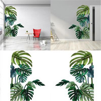 Tropische Pflanze Blätter Wand Aufkleber Home Decor Kinderzimmer Nordic Regenwald Grün Pflanzen Fenster Wand Aufkleber Adesivo De Parede