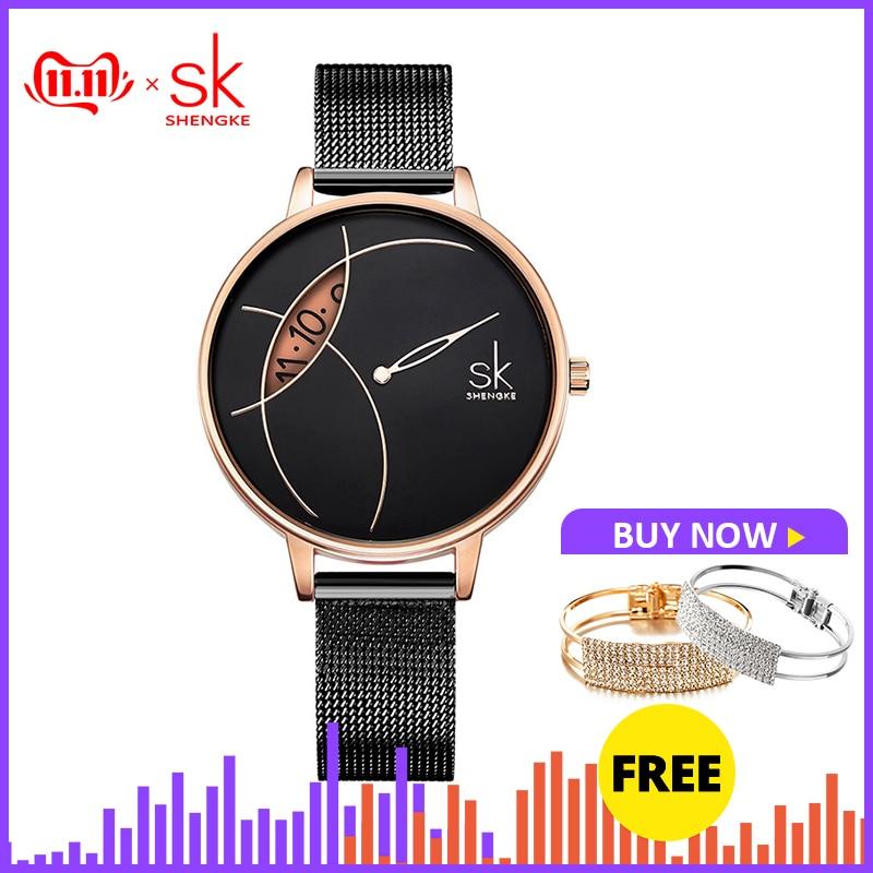 Shengke Women Fashion Watch Creative Lady Casual Watches Stainless Steel Mesh Band Stylish Desgin Silver Quartz Watch For Female