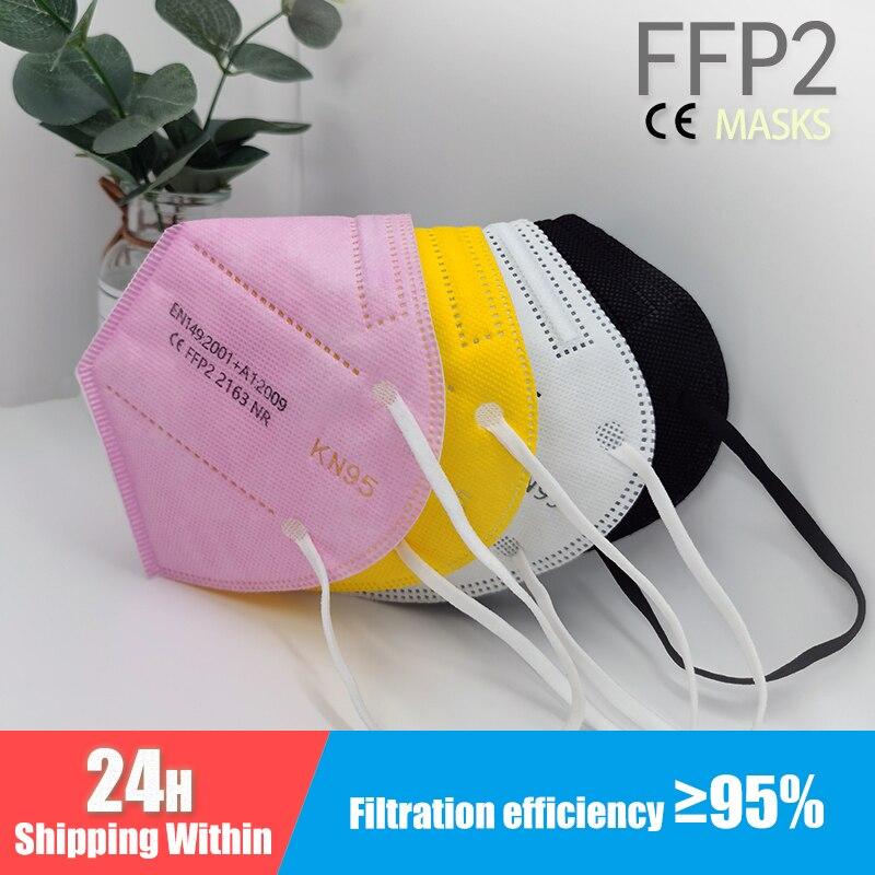 Multicolore adulte 5 couches noir FFP2 KN95 Mascarilla respirateur tissu masque facial KN95 filtre bouche anti-poussière réutilisable ffp2masque