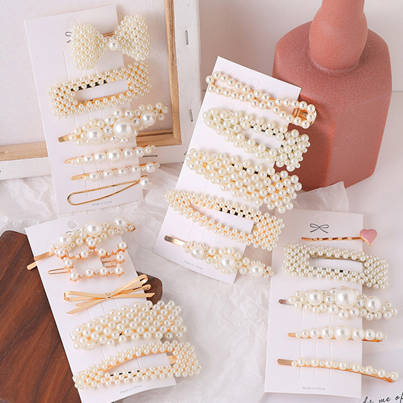 1Set Korean Fashion Simulation Pearl Haipin Women Hair Accessories Geometric Gold Acrylic Barrette Clips Jewelry Girl Wedding