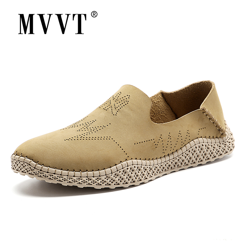 Breathable Leather Men Loafers Slip On Summer Men Shoes Suede Leather Shoes Casual Men Flats Soft Driving Shoes Moccasins