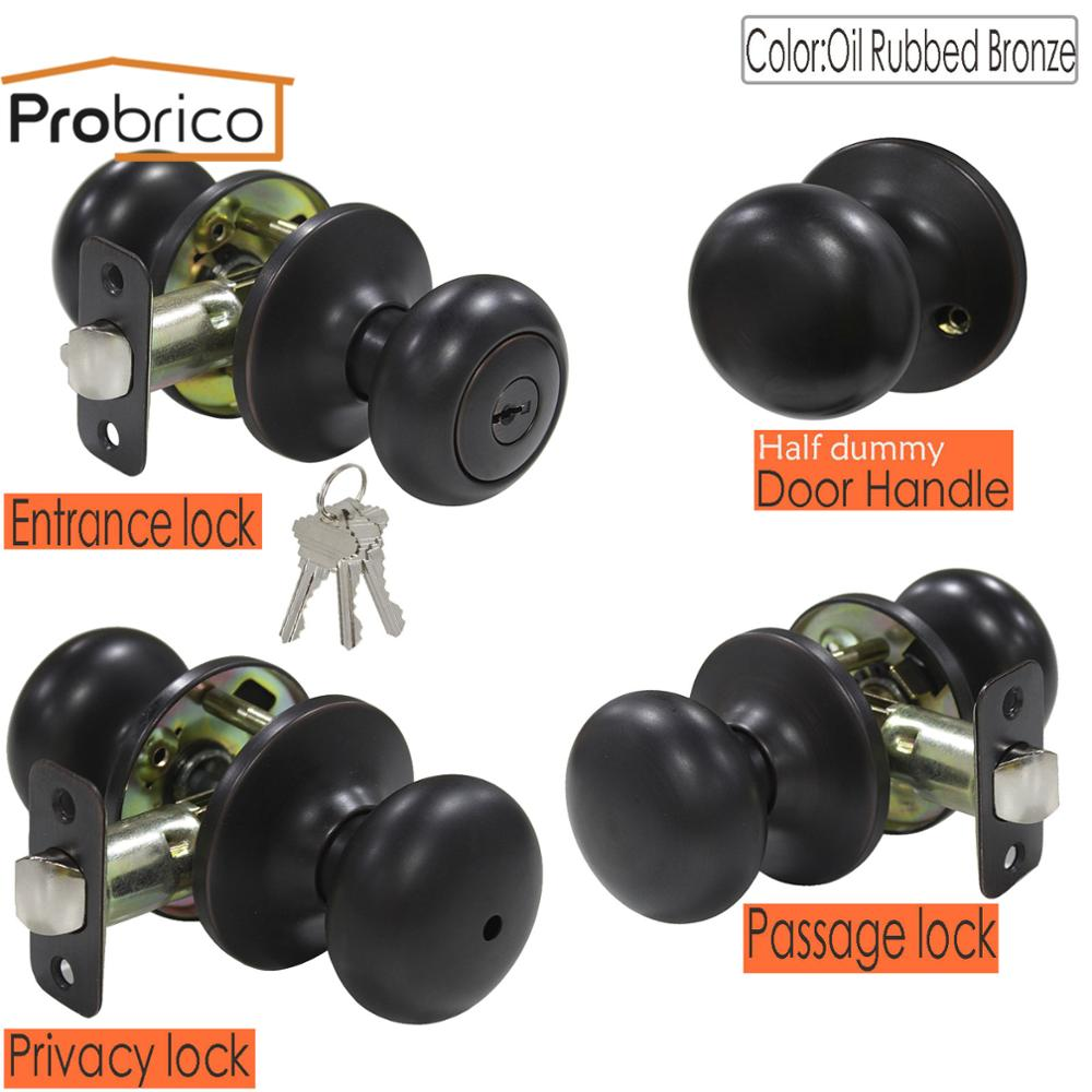 Probrico Door Knob Handles Interior Lock Oil Rubbed Bronze Entry/Privacy/Passage Locks For Bedroom Anti-theft Gate Door Hardware