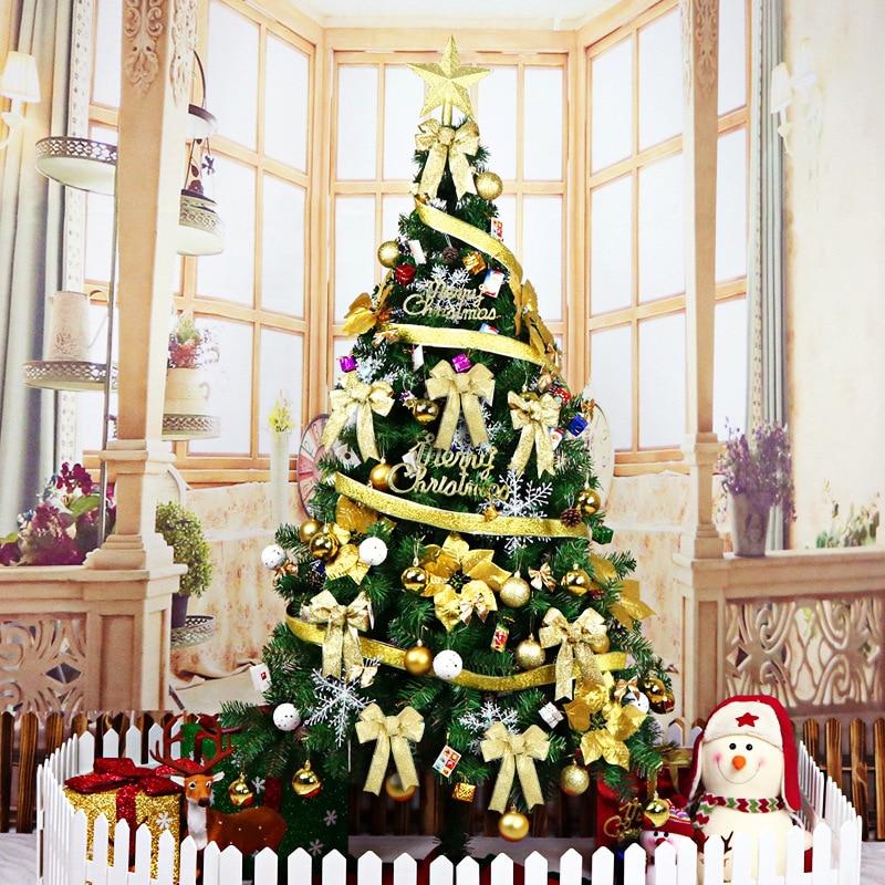 180cm de lujo sin luz grande árbol de Navidad conjunto lazos bola campana tarjeta cinta Hotel centro comercial decoración del hogar Navidad - 2