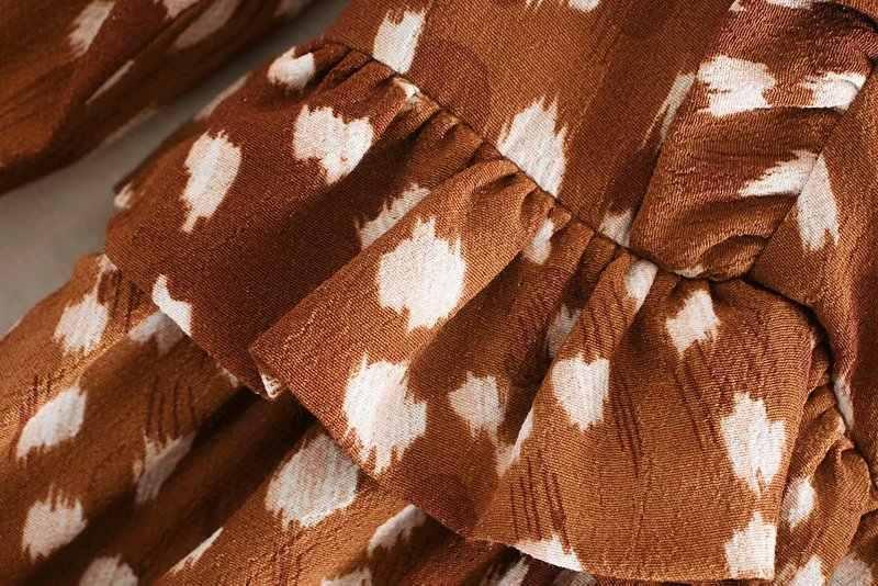 נשים מתוקה מדורג ראפלס הדפסה מקרית slim שמלת סתיו גבירותיי o צוואר ארוך שרוול שיק vestidos מסיבת שמלות DS2958