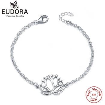 Eudora Real 925 Sterling Silver Lotus Handmade Bracelet Fine Jewelry  Classic Hollow out Lotus Flower Bracelet for Women CYBC04 lotus fun 925 sterling silver brooches for women lotus flower lapel pins men suit scarf collar brooch fine jewelry