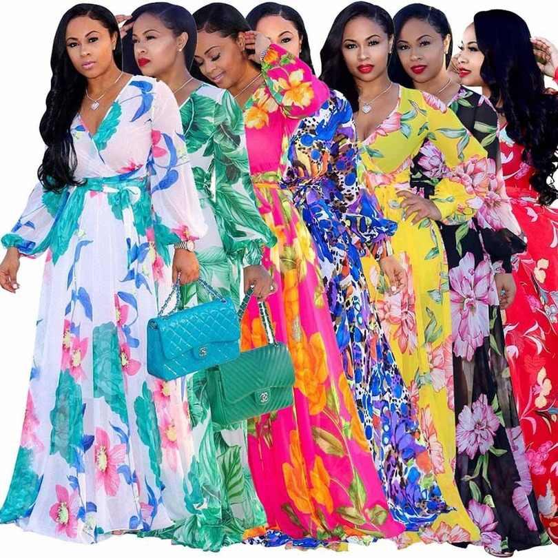 5XL Nuovo stile Africano abbigliamento Donna Dashiki materiale di Stampa di modo chiffon maniche lunghe vestito Super taglia S M-4XL 5XL 7027