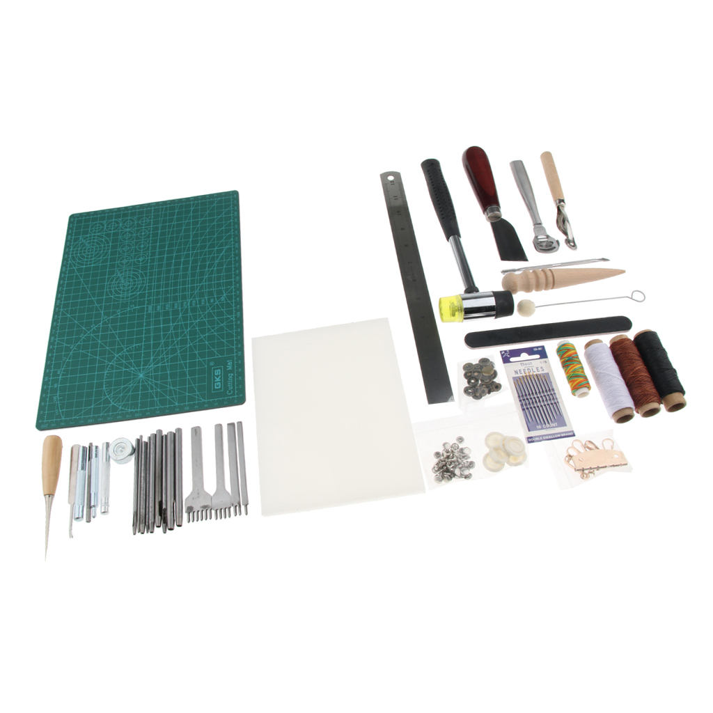 61 Pieces Leather Tools Craft DIY Hand Stitching Kit Basic Tools for Beginner