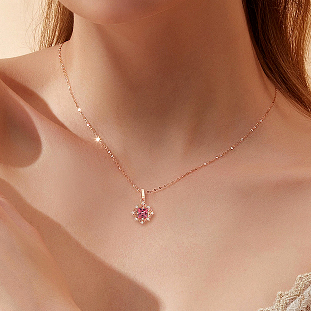 Vintage Carving Small Ruby Gemstones Red Crystal Pendant Necklaces For Women Diamonds Rose Gold Choker Chain Jewelry Bijoux Gift