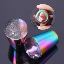 Голографический прозрачный штамп для ногтей с ручкой, штамповочная пластина, голографические прозрачные силиконовые штамповочные головки, инструменты для дизайна ногтей