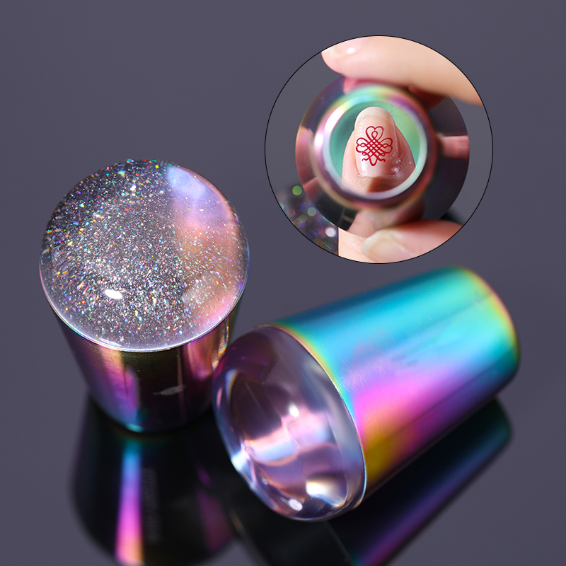 Handle  Transparent Nail Stamper For Stamping Plate Holo Clear Jelly Silicone Stamper Head Nail Art Templates Tool