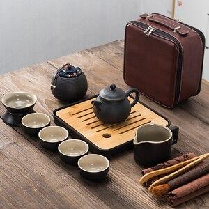 Image 2 - Японский черный керамический чайный набор кунг фу, портативный дорожный чайный набор, набор из 13 предметов, один чайник из четырех чашек быстрой чашки для пассажиров
