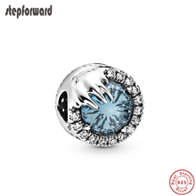 STEP FORWARD New Winter Crystal Charm 925 Sterling Silver Charms Fit Bracelet Luxury Blue Bead CZ Paved Jewelry Christmas Gift christmas trees red apple crystal cz 925 bracelet